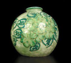 Vase boule décor floral signé Camille Tharaud Limoge porcelaine 23cm circa 1930 in Art, antiquités, Meubles, décoration, XXème, Art déco, Objets de décoration | eBay