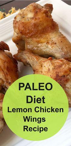 PALEO Diet appetizer recipe. Lemon Pepper Chicken Wings Recipe