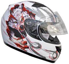 Integralhelm-805-Rollerhelm-Weiss-Motiv-Wolf-FF1-Motorradhelm-Superhelmet-S