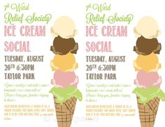"""Ice Cream Social Flyer Invitation Digital CUSTOM PRINTABLE - for Church, School or any other organization, but was originally for a Mormon LDS Relief Society Activity. Matching """"Life is Better with Friends"""" wall art / poster available in my Etsy shop!"""