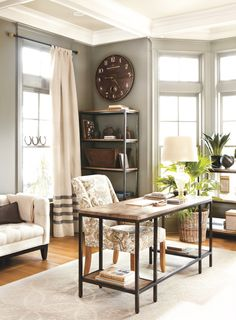 office curtains, office spaces, simple home office desk, durham deskballard499, desks