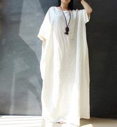 Loose Fitting Plus Size Linen and Cotton Dress by hodoostory