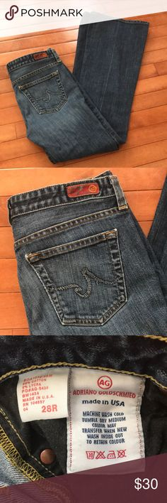 """AG """"the Club"""" denim jeans, size 28R Used but in great condition, AG jeans with bootcut/slight flare leg. Waist 28R. Inseam 30"""", Never hemmed. Ag Adriano Goldschmied Jeans Boot Cut"""