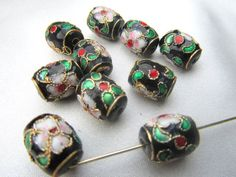 Black Cloisonne 11mm Barrel Jewelry Beads (10)