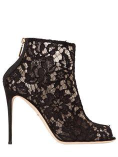 105MM BETH MESH LACE PEEP-TOE BOOTS Dolce & Gabbana