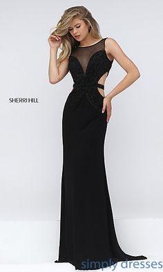 Sherri Hill Black Cut Out Formal Long Gown