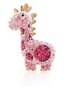 Little Baby Pink Giraffe Pave Crystal 3D Stretch Ring