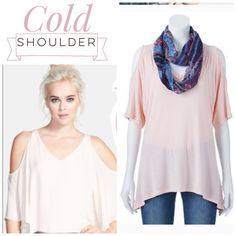Host pick! Cold shoulder top and scarf NEW Cute pastel tee with shoulder cutouts. Circle Scarf included 😊. Second and 3rd images are actual item. Tops