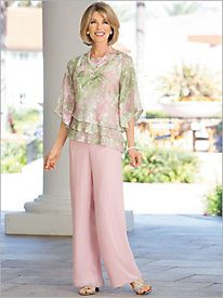 Floral Triple Tier Top & Pull On Pants by Alex Evenings Floral Triple Tier Top & Pull On Pants by Alex Evenings Wedding Trouser Suits, Formal Pant Suits, Wedding Pantsuit, Mother Of The Bride Suits, Mother Of Bride Outfits, Mothers Dresses, Formal Jackets For Women, Tiered Tops, Dressy Pants