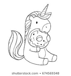 Cute Unicorn Eating Watermelon Coloring Pages ...