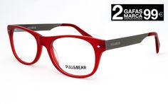 Gafas Pull para hombre y mujer. Montura de pasta translúcida en color rojo.