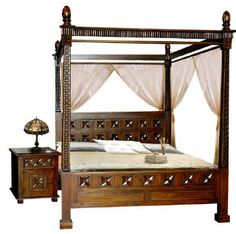 cama con dosel de estilo bali