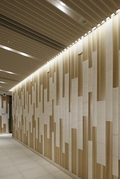 Using materials familiar to Japanese culture and climate, the comfortable and pleasing rhythm and vibrancy of the period was recreated here with a fresh, new design suited to modern times. Ceiling Design, Wall Design, Donor Wall, Lobby Design, Acoustic Panels, Wall Finishes, Co Working, Wall Cladding, Wall Patterns
