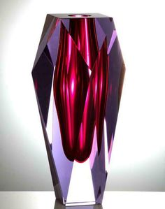 Gema by Moser. The stunning colours are achieved by layering colours of glass, then hand cutting and polishing like the facets of a gemstone. 10 inches tall. Alexandrite and Rose. #vase #YVR #BC #Vancouver #Vancity #Home #Homedecor #interiordesign #design #Luxury #Elegant #quality #flowers #floral #MOSERS #unique #MOSER #fluo #neon #colourful #colours