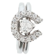 Two Become One Horseshoes and Hearts Equestrian Wedding Set intresting spin put in the design here Diamond Cluster Engagement Ring, Wedding Rings Solitaire, Diamond Wedding Bands, Bridal Rings, Diamond Rings, Diamond Jewelry, Engagement Ring Buying Guide, Shop Engagement Rings, Vintage Engagement Rings