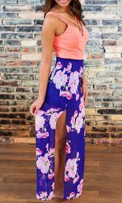 Pink Blue V Neck Floral Split Patterned Maxi Dress