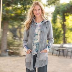 """HONEYCOMB HOODED JACKET--This soft, extra-long hooded jacket pairs perfectly with jeans, leggings or skirts. Thick cotton, waffle-textured body, big buttons and roll sleeves. It's a keeper. Machine wash. Imported. Sizes XS (2), S (4 to 6), M (8 to 10), L (12 to 14), XL (16). Approx. 31""""L."""