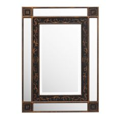 The Curtis Mirror has all the details of classical styling: rope trimming and leaf edging, in addition to order, symmetry and balance. Consider hanging this black & antique gold mirror vertically or horizontally in a foyer, or entrance hallway.