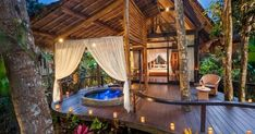 """In the past, Bali was a mecca for backpackers. But nowadays, Bali has really stepped up its game on the other end of the spectrum. Luxury tents, better known as """"glamping tents"""", and private pool villas are becoming a staple of visiting Bali. Interior Tropical, Bali Retreat, Yoga Retreat, Go Glamping, Bamboo House, Resorts, Gazebo, Pergola Roof, Outdoor Living"""