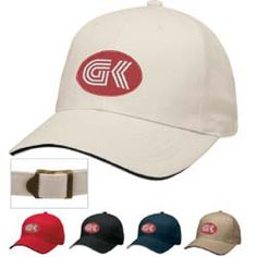 X-Treme Cap 45055 - This new cap features bold, contrasting sandwich accent on the front and back. Six-panel, fused buckram cap. Sandwich accent on front of visor, plus at opening in back. Contrast color seam tape. Made of 100% brushed cotton twill. One size fits most. Pack 24. #propelpromo