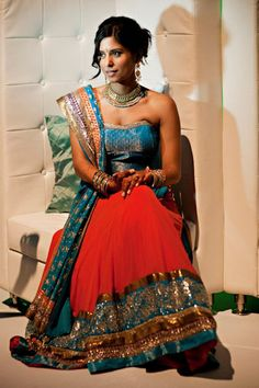 Indian Bride in a Red & Blue Lengha Big Fat Indian Wedding, Indian Bridal Wear, Indian Wear, Indian Weddings, Indian Style, Indian Dresses, Indian Outfits, Indian Clothes, Desi Clothes