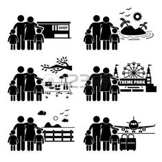Pictogram vacation: Family Vacation Trip Holiday Recreational Activities Stick Figure Pictogram Icon
