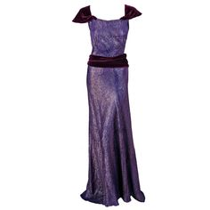 1930's Vintage Seductive Purple-Lame & Velvet Bias-Cut Evening Couture Gown NOW LISTED!