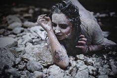 Image by: Jes Hunter Photography 2016  Model: Kimmy Fae Chaye  #art #dark #photography #flour #snow #tattoos #nails #crawling #kimmyfaechaye #model #concept #darkbeauty #deviantart #rocks #river #different #ideas #sad #withered