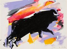 Untitled (Bull) - Elaine de Kooning - Abstract Expressionism, 1973