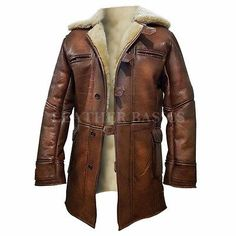New Tom Hardy Dark Knight Rises Bane Shearling Brown Leather Jacket Coat