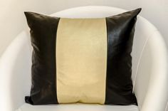 Decorative black and golden faux leather pillow by ThePillowWorld