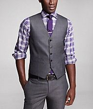 casual. purple and grey. vest and tie bar.