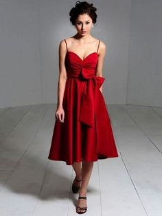 A-Line/Princess Spaghetti Straps Sleeveless Bowknot Elastic Woven Satin Bridesmaid Dresses - Red Bridesmaid Dresses - Bridesmaid Dresses