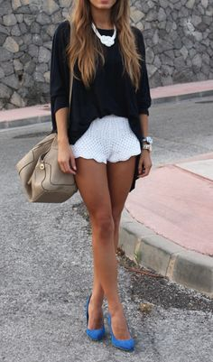 Ooh!  Crisp white and navy with a pop of cobalt; plus I love the cut of the shorts and top