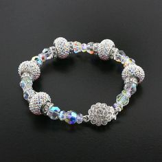 Detailed Crystal Bracelet with Pavé Charms