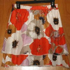 """Anthropology  Odille Skirt floral print size small Beautiful layered skirt Pull on elastic waist Waist 27"""" Length  27 Lined 100% silk Barely warn condition Odille  Skirts A-Line or Full"""