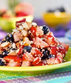 Red, White, and Blue Quinoa Salad (perfect for July 4th and it's gluten-free!)