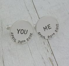 You & Me Silver Cufflinks for Groom Wedding by MetalPressions, $99.00