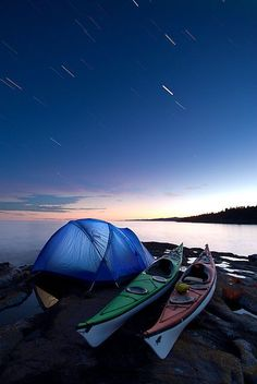 Kayak Camping Under Startrails by Bryan Hansel