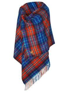 Experts in cashmere, fine woollens and beautiful tweed products, Johnstons of Elgin have been manufacturing in Elgin since 1797. Inspired by their rich Scottish heritage, all products are lovingly created and hand finished by craftsmen and women with the finest attention to detail. Embroidered with a small Scottish bumble bee and graffiti Orb, this classic tartan cashmere stole inspired by wool capes from Vivienne Westwood's Autumn-Winter 2013/14 Gold Label collection.