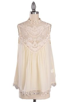 Ever After Lace Neck Blouse - Ivory