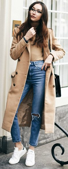 Beatrice Gutu + ultra chic + retro outfit + maxi camel coat + distressed high waisted jeans + classic Adidas Stan Smith sneakers Coat: Missguided, Turtleneck: Zara, Jeans: Asos, Sneakers: Adidas.