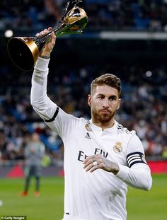 Sergio Ramos of Real Madrid during the La Liga Santander match between Real Madrid v Real Sociedad at the Santiago Bernabeu on January 2019 in Madrid Spain Get premium, high resolution news photos at Getty Images Barcelona Soccer, Fc Barcelona, Real Madrid Captain, Real Madrid Manchester United, Real Madrid Wallpapers, World Cup Trophy, Cristiano Ronaldo Lionel Messi, Club World Cup, Toni Kroos