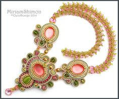 Pink and Olive soutache necklace | Flickr - Photo Sharing!