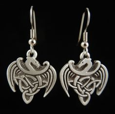 "Celtic Dragon Earrings 3/4"" (19 mm) Made in Boise, Idaho USA"