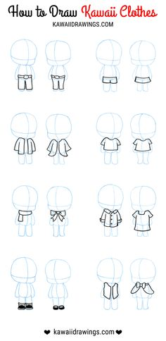 How to draw clothes for kawaii characters, examples with images. Steps to design unique kawaii characters. Week 17 of my kawaii drawing challenge. Anime Drawings Sketches, Kawaii Drawings, Cartoon Drawings, Easy Drawings, Cartoon Art, Cartoon Outfits, Character Design Cartoon, Character Drawing, Kawaii Chibi
