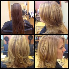 Medium length haircut with long layers and side swept bangs