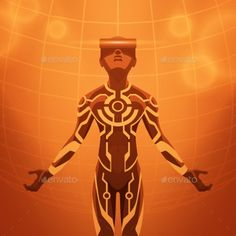 Man in the Virtual Reality Headset Vector illustration EPS