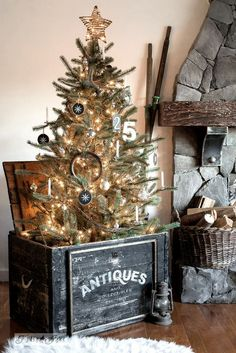 Create a whimsical one-of-a-kind Christmas tree in an Antiques crate with an Antiques stencil from Funky Junk's Old Sign Stencils with Fusion Mineral Paint!