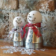 cute Metallic Snowmen Decorations ~ You'll find most of the materials for these fun-to-make snowmen decorations at a hardware store... vent connectors, upholstery tacks, screws, washers